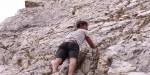 Chris leading the climb